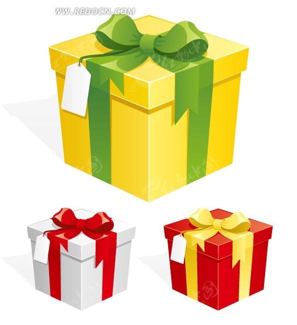 手绘精致礼带包装礼物盒和标签