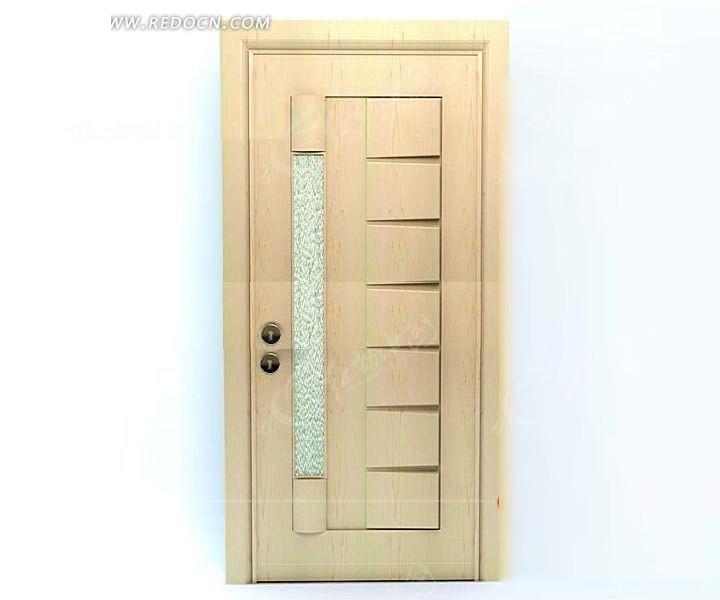 长条形玻璃装饰的木门3d效果图