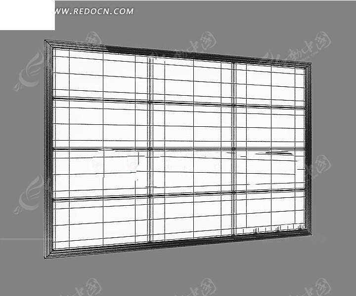 3d黑白立体窗户线条框架素材