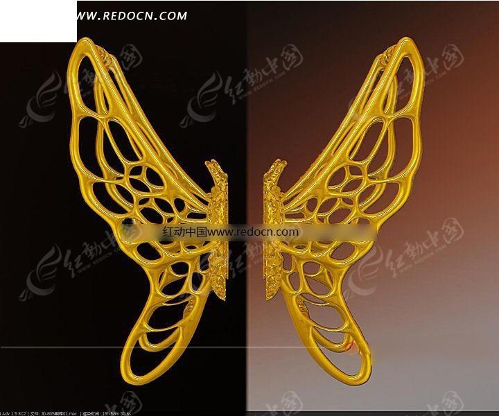 一对金色镂空蝴蝶造型拉手3dmax素材免费下载(编号)图片