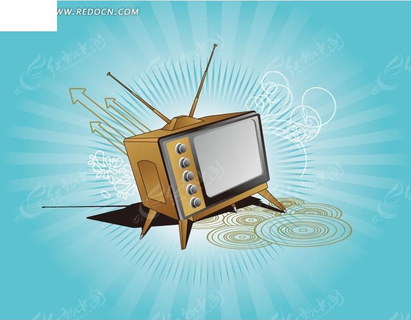 手绘潮流花纹天线电视机