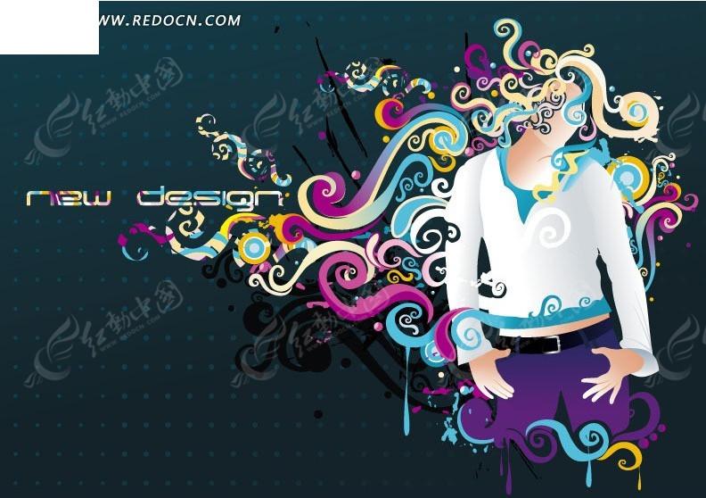 时尚卷曲叶蔓头发的女性矢量图_花纹花边图片