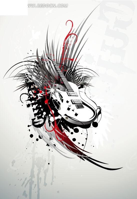 手绘黑色和红色花纹装饰的吉他