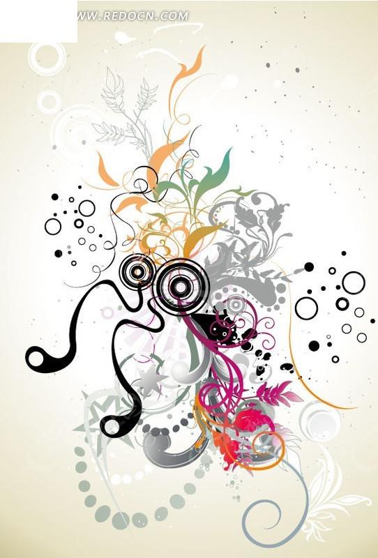 手绘精美的花纹和圆环