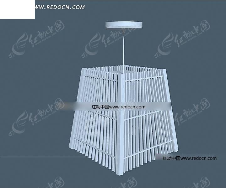 田园风格梯形木条拼接吊灯3dmax模型