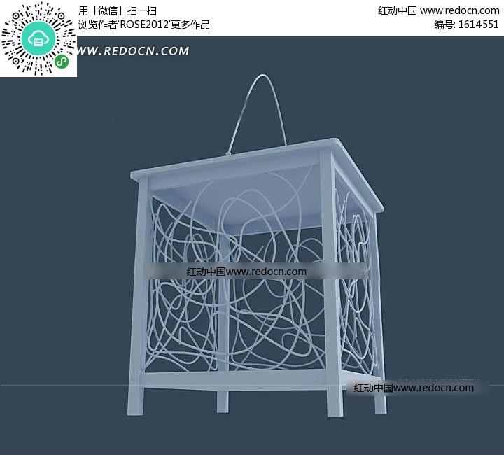 木条框架铁丝缠绕饰面吊灯3dmax模型