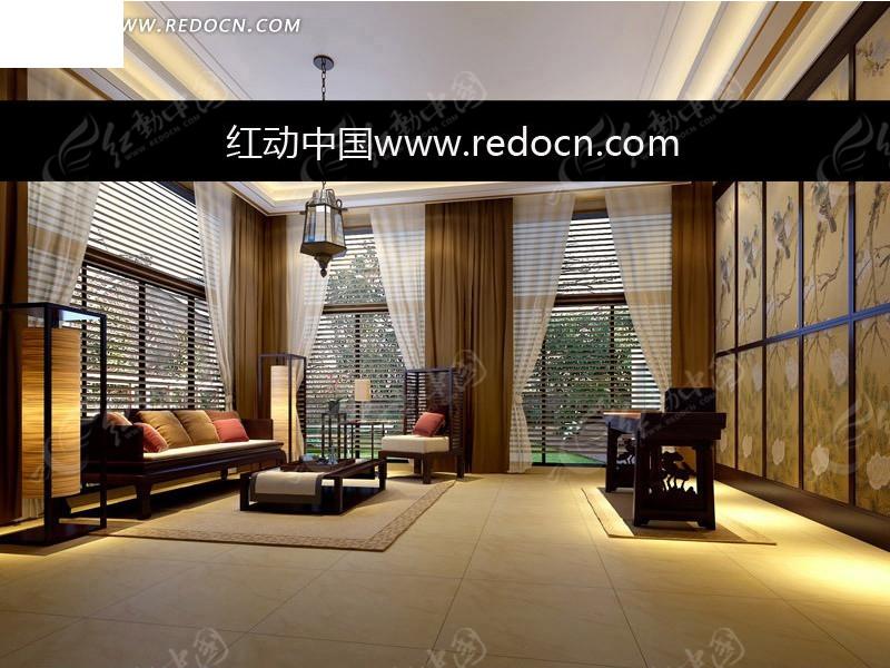 素材下载 3d素材 3d模型 室内设计 > 中式风格简洁会客厅设计效果图图片