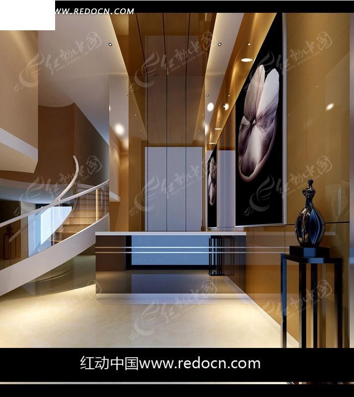 3d复式房屋暖色精装修效果图