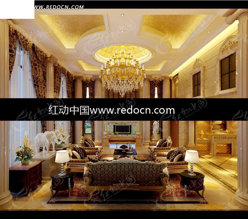 欧式金箔吊顶奢华客厅3dmax模型图片