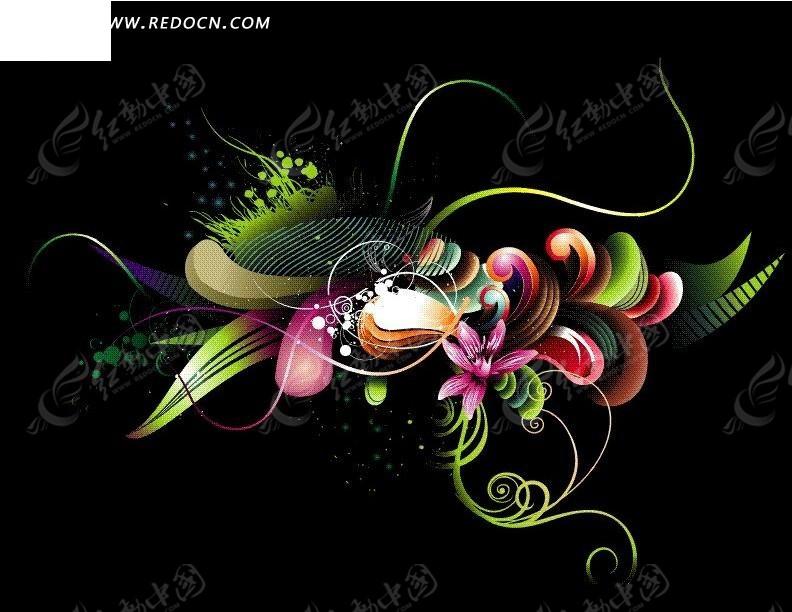 黑色线条背景素材; 黑色背景上绚丽的花纹和曲线图片; 花朵藤蔓线条