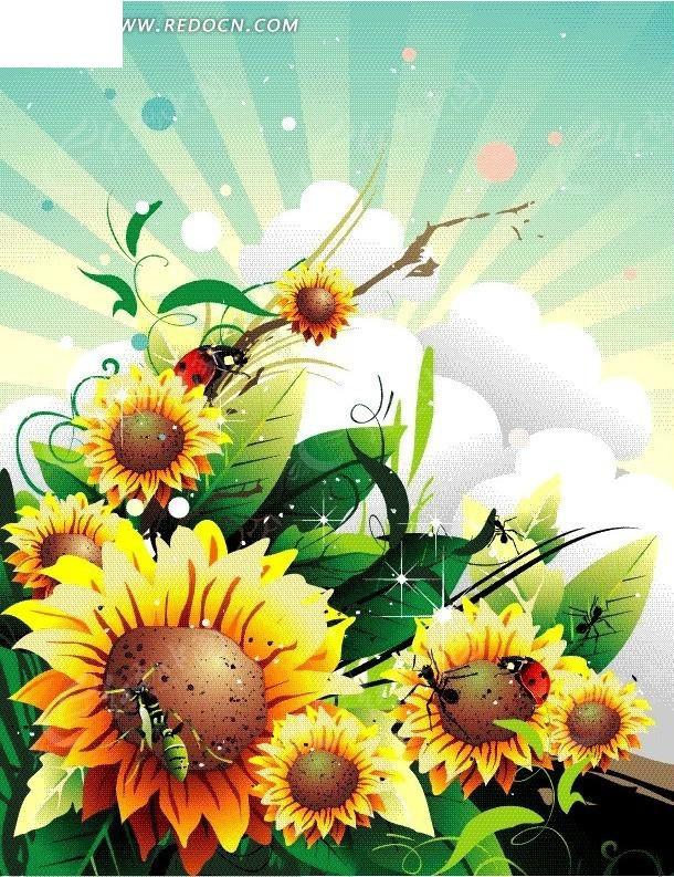 手绘云朵上盛放太阳花