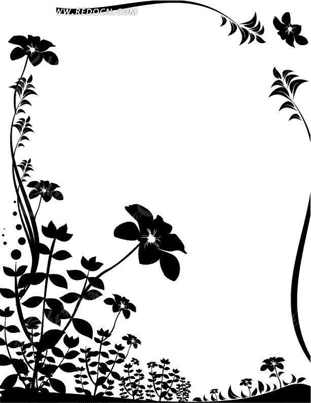 开花的植物 花朵 叶子 边框 手绘 线描图 花纹 花纹素材 花边 花边