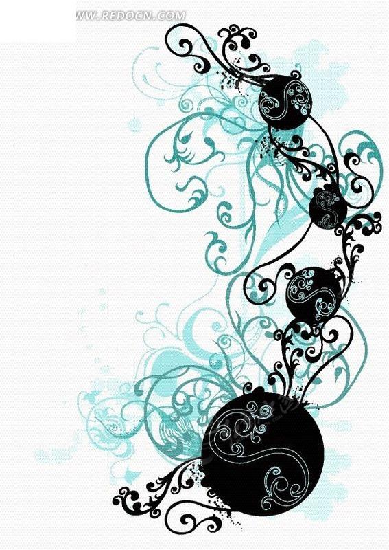 免费素材 矢量素材 花纹边框 花纹花边 > 手绘青色和黑色弯曲的藤蔓和