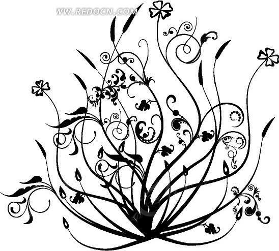 手绘黑色线条的植物花纹