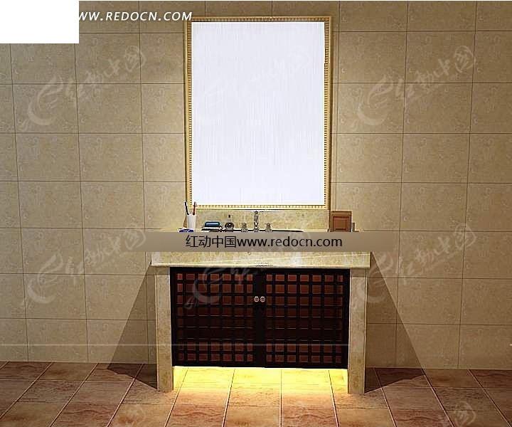 现代简约洗手台设计3d效果图图片高清图片