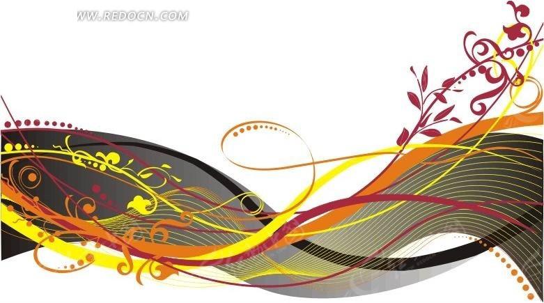 手绘 花草花纹 缠绕叶蔓 藤蔓 花纹 花纹素材 花边 花边素材  矢量