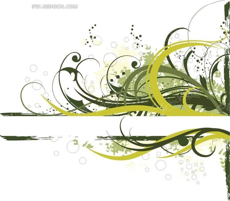免费素材 矢量素材 花纹边框 花纹花边 > 绿色和黄色花纹前的白色条形