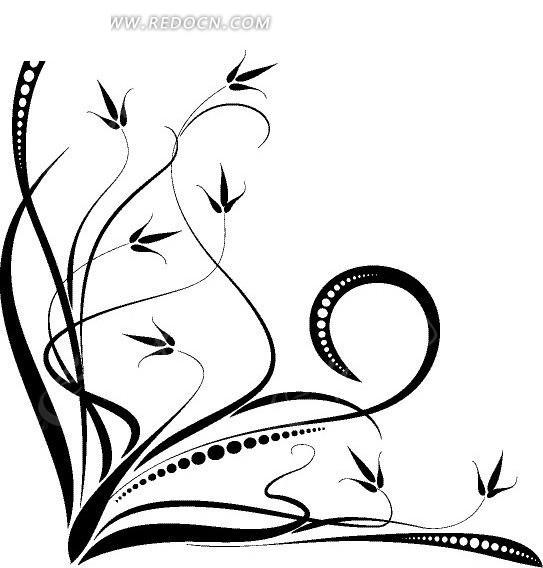 黑色弯曲的精致枝条矢量图eps免费下载_花纹花边素材