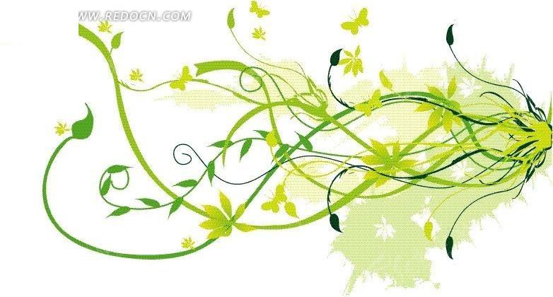 免费素材 矢量素材 花纹边框 花纹花边 手绘舞动的青绿藤蔓