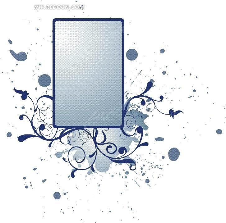 会蓝色框框和蓝色卷草矢量图_花纹花边