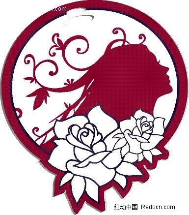 创意美女头像圆形玫瑰
