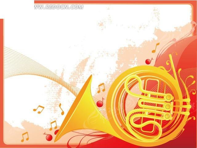免费素材 矢量素材 花纹边框 花纹花边 手绘金色圆号吹奏的音乐