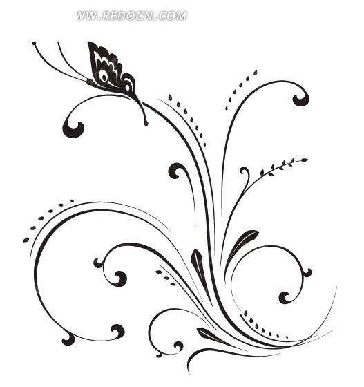 手绘黑色精致的花纹和蝴蝶