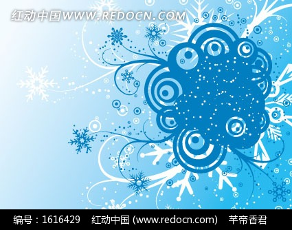 雪花藤蔓圆形蓝色背景矢量图_花纹花边