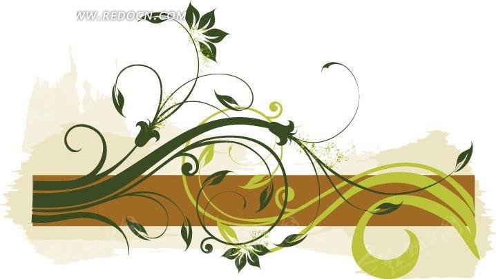 手绘绿色枝条装饰的棕色条形框矢量图_花纹花边