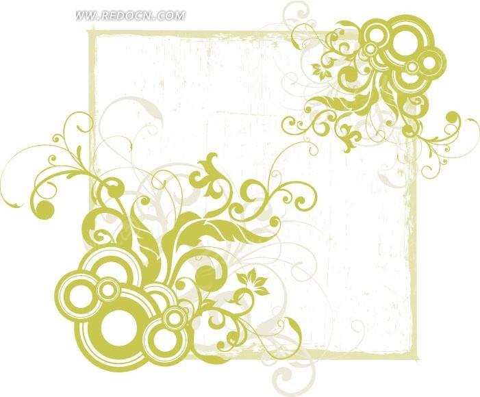 正方形 圆圈 藤蔓 植物 花边 花纹 精美花纹 花纹素材 花边素材  矢量