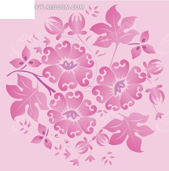 手绘淡粉色背景上的粉色花朵和叶子eps免费下载