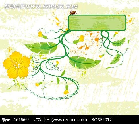 手绘杂乱背景上的植物和矩形框