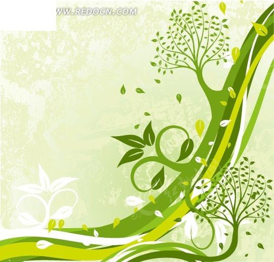 免费素材 矢量素材 花纹边框 花纹花边 > 手绘曲线上的树木和绿叶