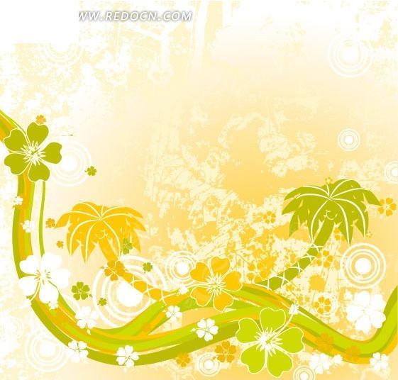 椰子树花朵圆形