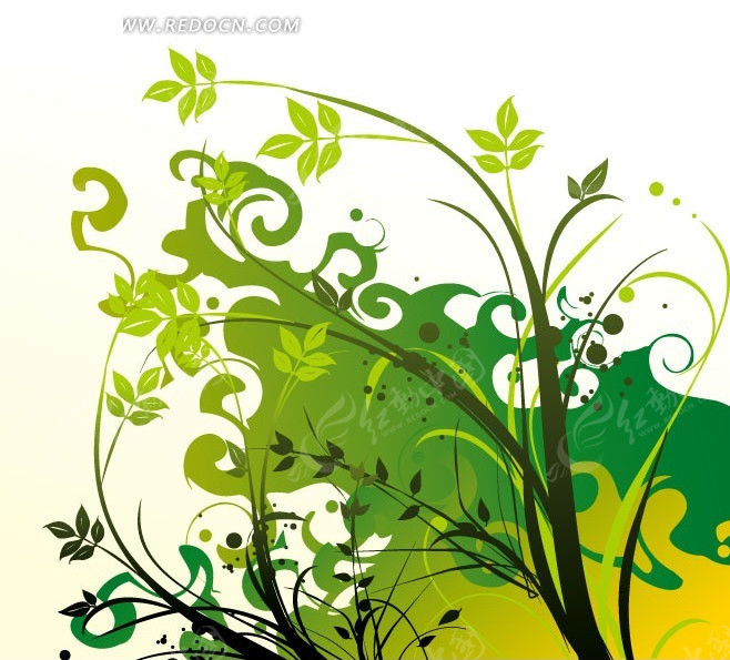 绿色枝叶卷曲矢量图_花纹花边