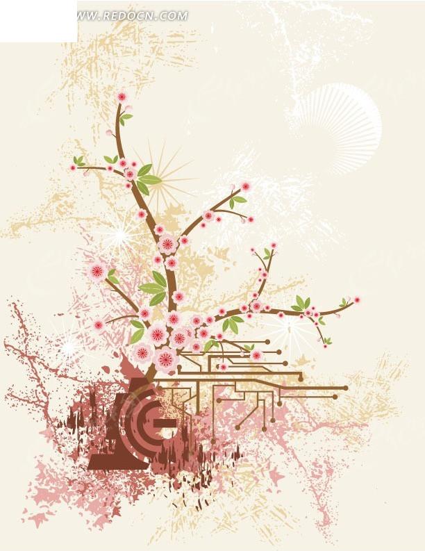 粉色花朵 枝条 叶子 线路板 背景 装饰 花纹 时尚 涂鸦 美丽 创意
