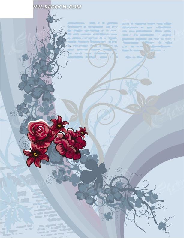 浅灰色背景上的花与拱形图案图片