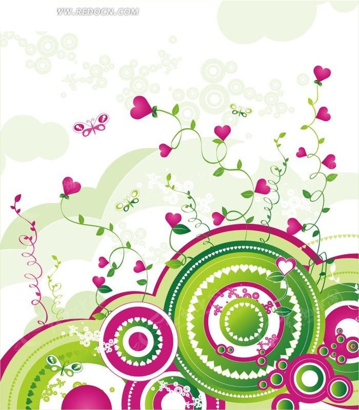 手绘彩色圆环上的卷曲藤蔓和心形花朵