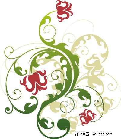 花朵 藤蔓 卷曲 花纹 花纹素材 花边 花边素材 矢量素材 eps