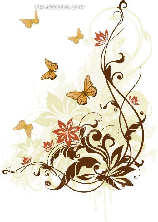 蝴蝶和花草藤蔓