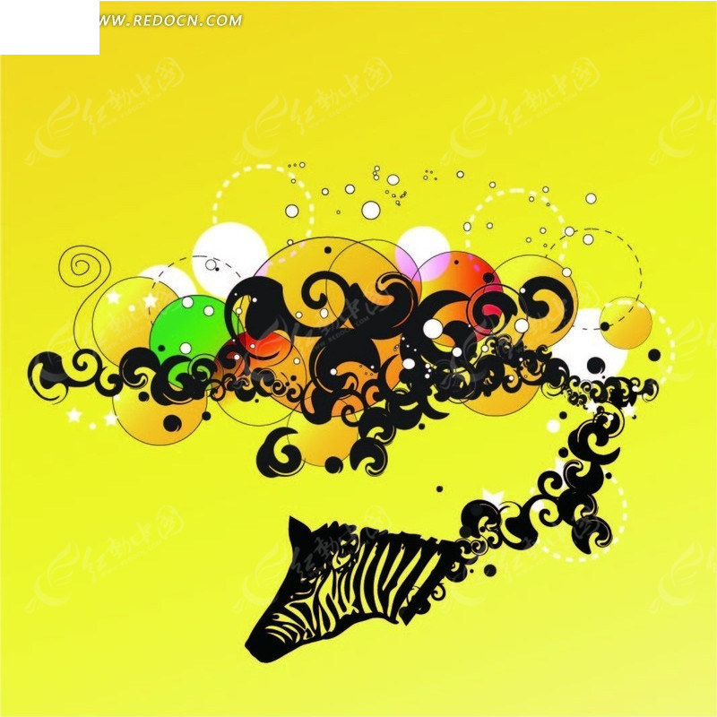 斑马头像圆形卷曲矢量图ai免费下载_花纹花边素材