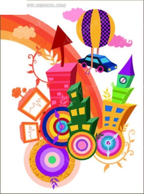 彩色 卡通 小屋 氢气球 小汽车 彩虹 云朵 花纹 圆环  花纹素材 花边