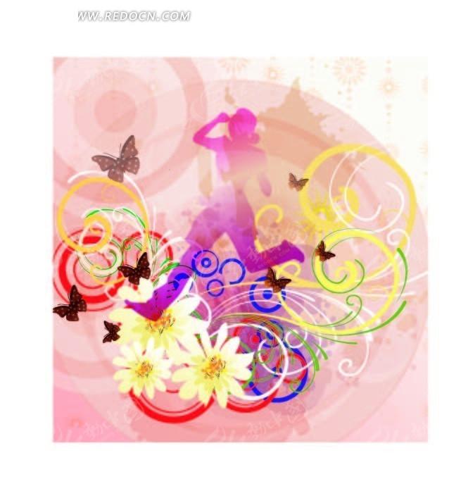 花朵蝴蝶人物剪影