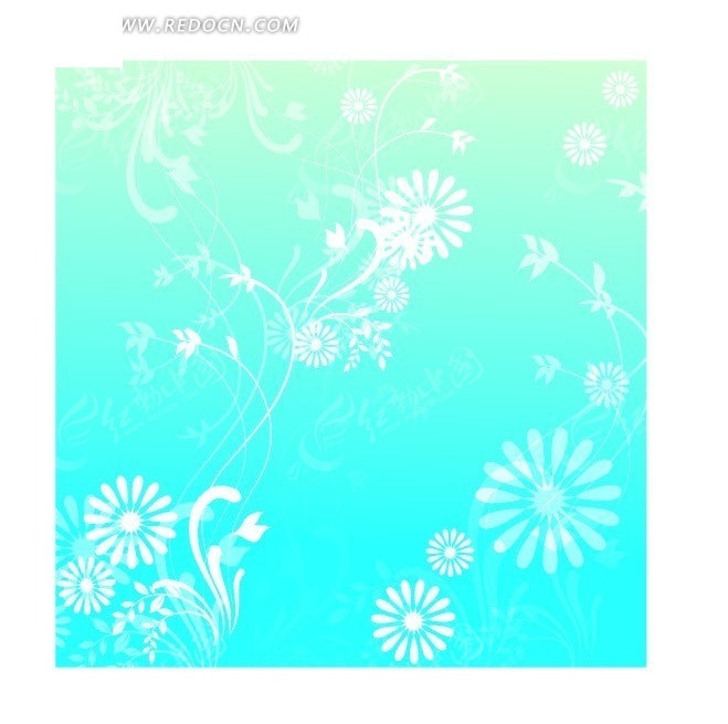 花朵 枝叶 翠蓝色 底纹 背景素材 矢量素材 ai 花纹 花纹素材 花边