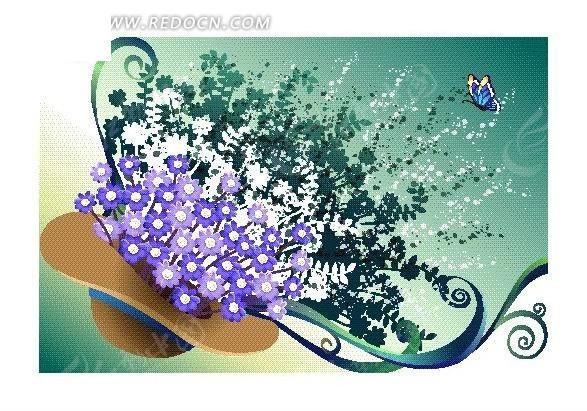 萨克斯上的鲜花与蝴蝶_花纹花边_红动手机版