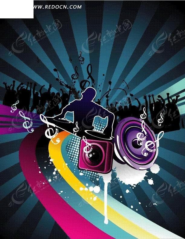 彩色动感曲线和dj音响喇叭音乐海报