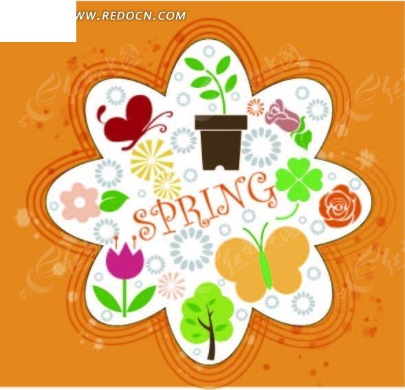 花朵形状 边框 蝴蝶 盆栽 花朵 四叶草 可爱 精美花纹 背景 底纹