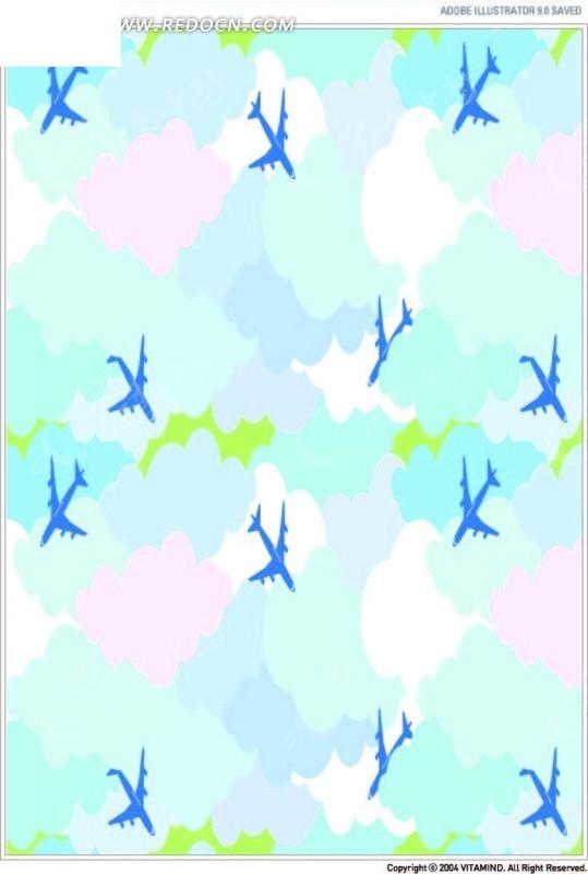 飞机云朵图案ai免费下载_底纹背景素材