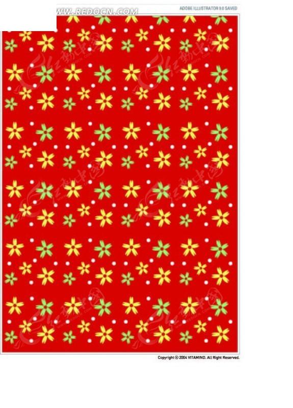 小花图案红色背景