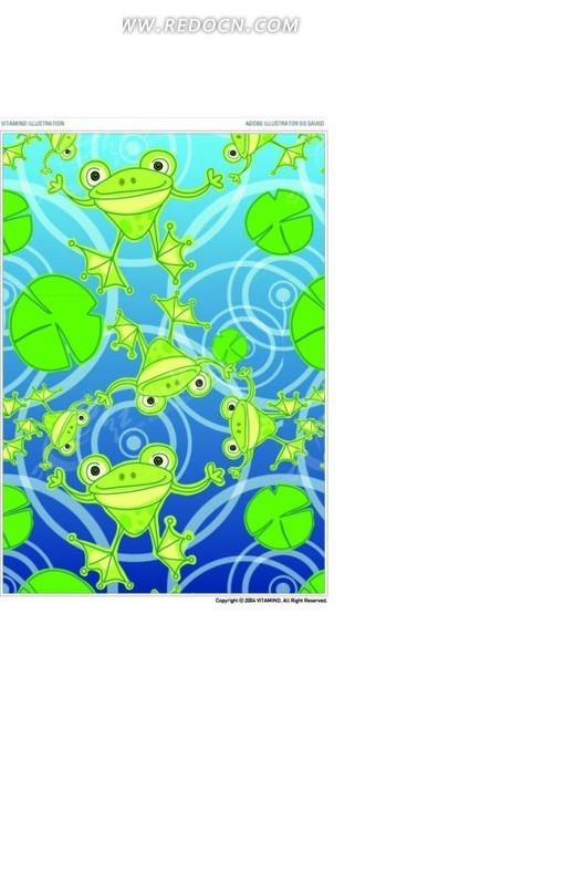 青蛙荷叶与圆形AI素材免费下载 编号1620257 红动网